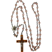 Rare Rosary with Bakelite Crucifix with Stanhope Seven Sorrows of Mary