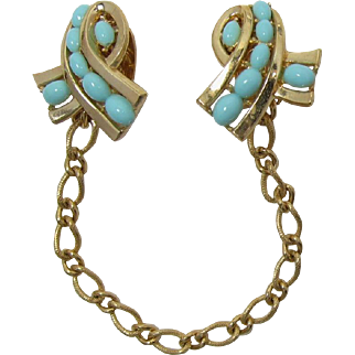 """Trifari """"Tie-Ups"""" Faux Light Turquoise Sweater Clips"""