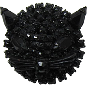 Weiss Black Japanned and Rhinestone Cat Face Pin