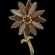 Tan and Brown Navette Rhinestone Flower Pin