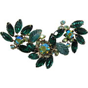 Large Unsigned Beau Jewels Brooch with Green Rhinestones