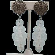 Long Dangling Clear Acrylic Melon-shaped Beaded Earrings