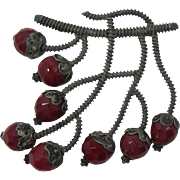 Old Brooch with Dark Red Beads