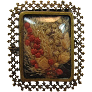 Old C-Clasp Brass Picture Frame Brooch