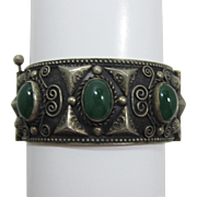 Elaborate Wide Moroccan Style Bracelet with Dark Green Cabochons