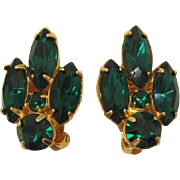 Green Rhinestone Navette Earrings