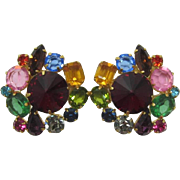 Bold, Multi-Colored Rhinestone Earrings