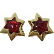 Huge Gold-tone Shooting Star Earrings with Red Insets