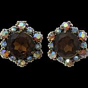 Sparkling Huge Smoky Topaz and AB Rhinestone Earrings