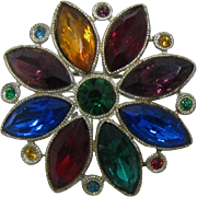 Old 1930's Flower Brooch with Jewel-tone Navettes.