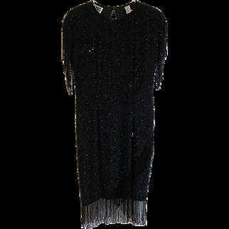 1980's Vintage Nite Line Silk Black Beaded Party Dress