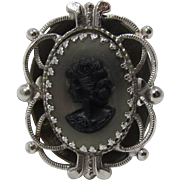 Whiting & Davis Grey and Black Cameo Ring