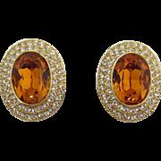 Large Topaz and Clear Rhinestone Earrings
