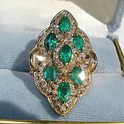SALE 14K Yellow Gold, 2.66cts. Emeralds & 1.65cts. Diamond Ring