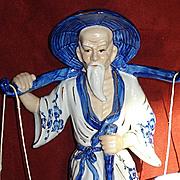 SALE Porcelain & 24k Gold Asian Man Figurine