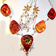 SOLD Fiery Dichroic Glass Necklace/Earring/Set