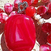 SOLD Fuchsia Druzy & Shell Necklace
