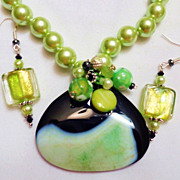 SALE Seafoam Green & Black Agate Druzy Necklace & Lampwork Bead Earring Set