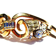 SOLD Vintage Gold Tone Bracelet With Crystals and Baguettes-SOLD-Laurie