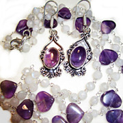 SALE PENDING 2 Necklaces, Amethyst Heart & Rainbow Moonstone with Amethyst Earrings