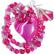 CLEARANCE--Pink Agate Heart Necklace & Earring Set