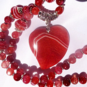 SOLD CLEARANCE--Red and White Striped Druzy Heart/Lampwork Bead Necklace