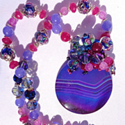 SOLD Bright Blue/Purple Druzy/Lampwork Bead Necklace/Earring Set