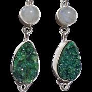 SOLD Sparkling Green Druzy & Moonstone Earrings