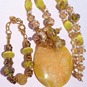 SOLD Citrine Drusy, Crystal & Lampwork Bead Necklace & Bracelet Set