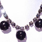 SALE Vintage Black Rhinestone Necklace