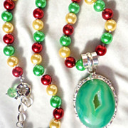 SOLD CLEARANCE Seafoam Green Druzy with Swarovski Shell Pearl Necklace