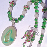 Teal Green & White Druzy with Murano Lampwork Beads & Crystal Necklace & Earring Set