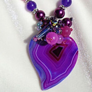 SOLD Clearance: Purple Striped Druzy Heart/Amethyst Necklace; Earring Set