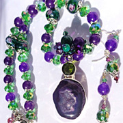 SOLD Amethyst Druzy with Chrome Diopside, Lampwork & Crystal Bead Necklace & Earring S