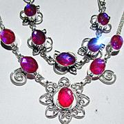 SOLD 3 Pc.Color Changing Crystal Necklace/Bracelet/Earring Set