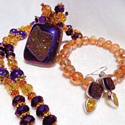 SOLD 3 Pc. Purple & Gold Titanium Druzy Necklace, Bracelet & Earring Set