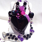 SOLD 3 Pc. Amethyst & Black Onyx Heart, Necklace, Bracelet & Earring Set