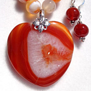 SOLD Orange Sardonyx Heart Bead Necklace/Earring Set