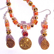 3 Pc. Golden Druzy & Crystal Necklace, Earring & Ring Set