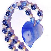 SALE PENDING Blue Heart Druzy, Opalite/Shell Pearl Necklace