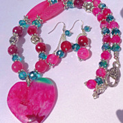 SOLD Pink & Green Heart Druzy & Banded Agate Necklace & Earring Set