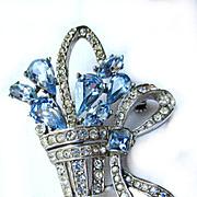 SALE Vintage Blue Rhinestone Flowers in Basket/Pin/Brooch