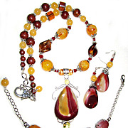 Mookaite/Citrine Necklace, Bracelet, Earring Set