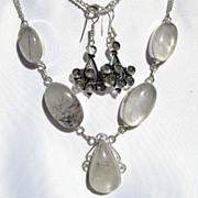 SOLD Tourmaline Quartz Teardrop Sterling Silver Necklace & Labradorite Earrings