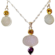 SOLD Sparkling 3 Pc. White Druzy Necklace & Earring Set