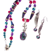 SOLD Rainbow Mystic Topaz Pendent with Amethyst/Swarovski Crystal Necklace/Earring Set