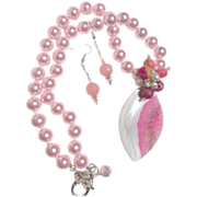 SOLD Pink & White Druzy with Shell Pearl Necklace & Earring Set