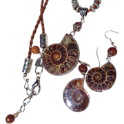 SOLD Ammonite Fossil Necklace & Earring Set
