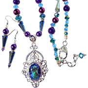 SALE Mystic Topaz with Swarovski Crystal Necklace & Earring Set