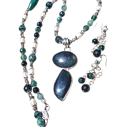 SOLD Moss Agate Pendant & Beads with Freshwater Pearl Necklace & Earring Set